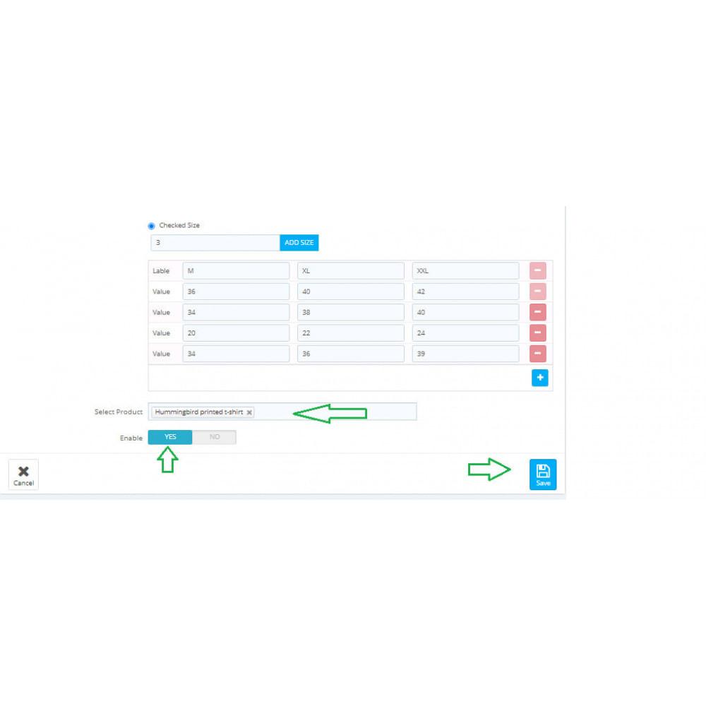 module - Дополнительной информации и вкладок товара - Custom Size Chart - 15