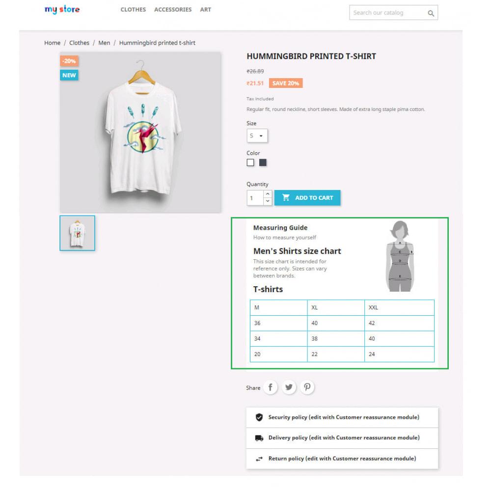 module - Дополнительной информации и вкладок товара - Custom Size Chart - 22