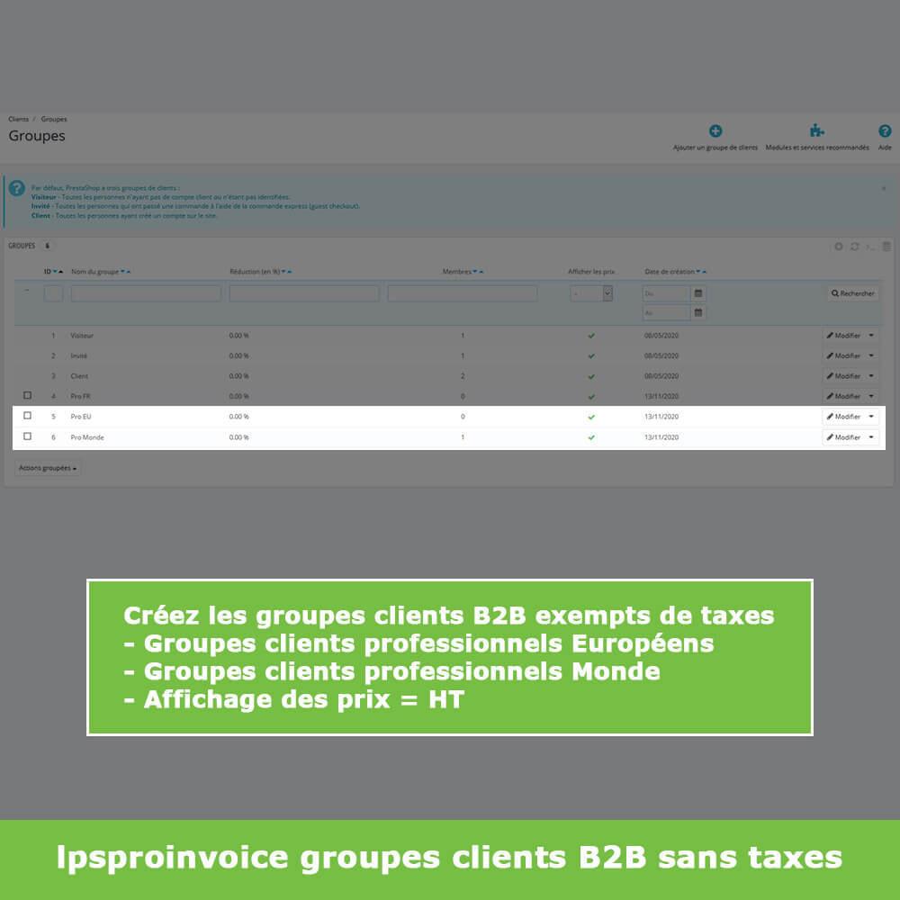 module - Comptabilité & Facturation - Facturation B2B - Suppression Taxes (sans TVA / HT) - 3