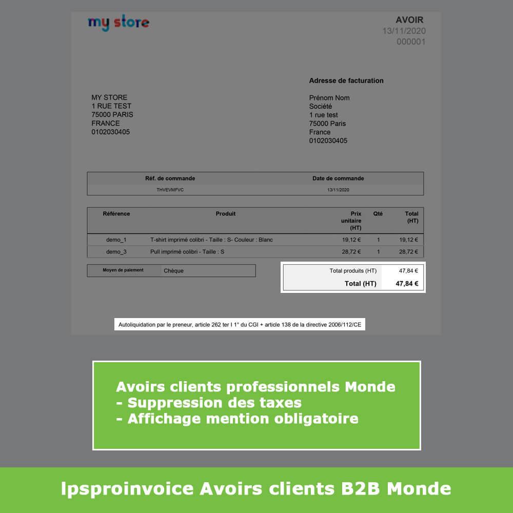 module - Comptabilité & Facturation - Facturation B2B - Suppression Taxes (sans TVA / HT) - 12