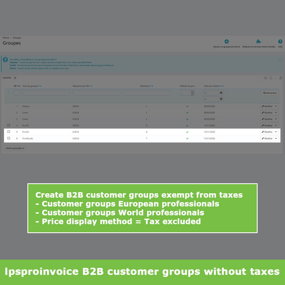 module - Accounting & Invoicing - B2B Invoicing - Remove Tax (without VAT / Tax excl) - 3
