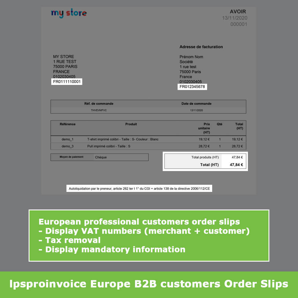 module - Accounting & Invoicing - B2B Invoicing - Remove Tax (without VAT / Tax excl) - 11