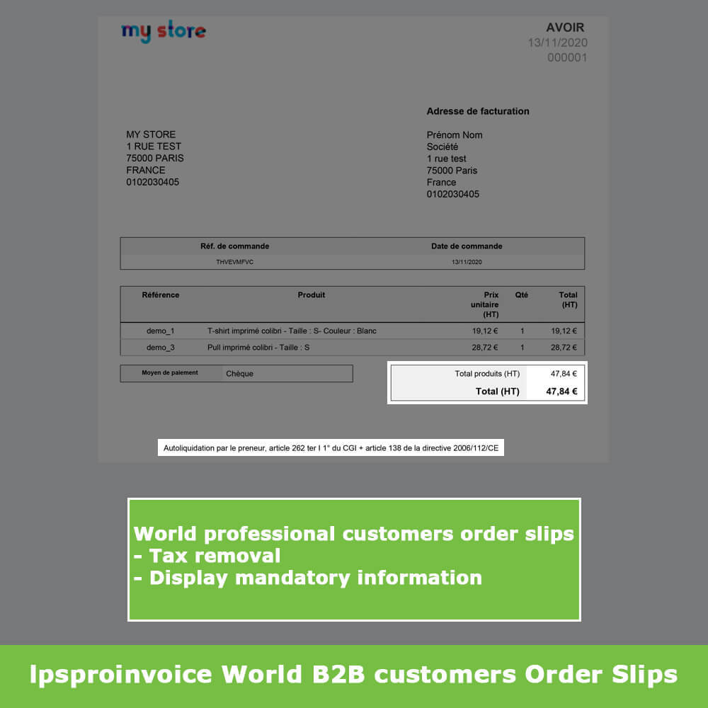 module - Accounting & Invoicing - B2B Invoicing - Remove Tax (without VAT / Tax excl) - 12