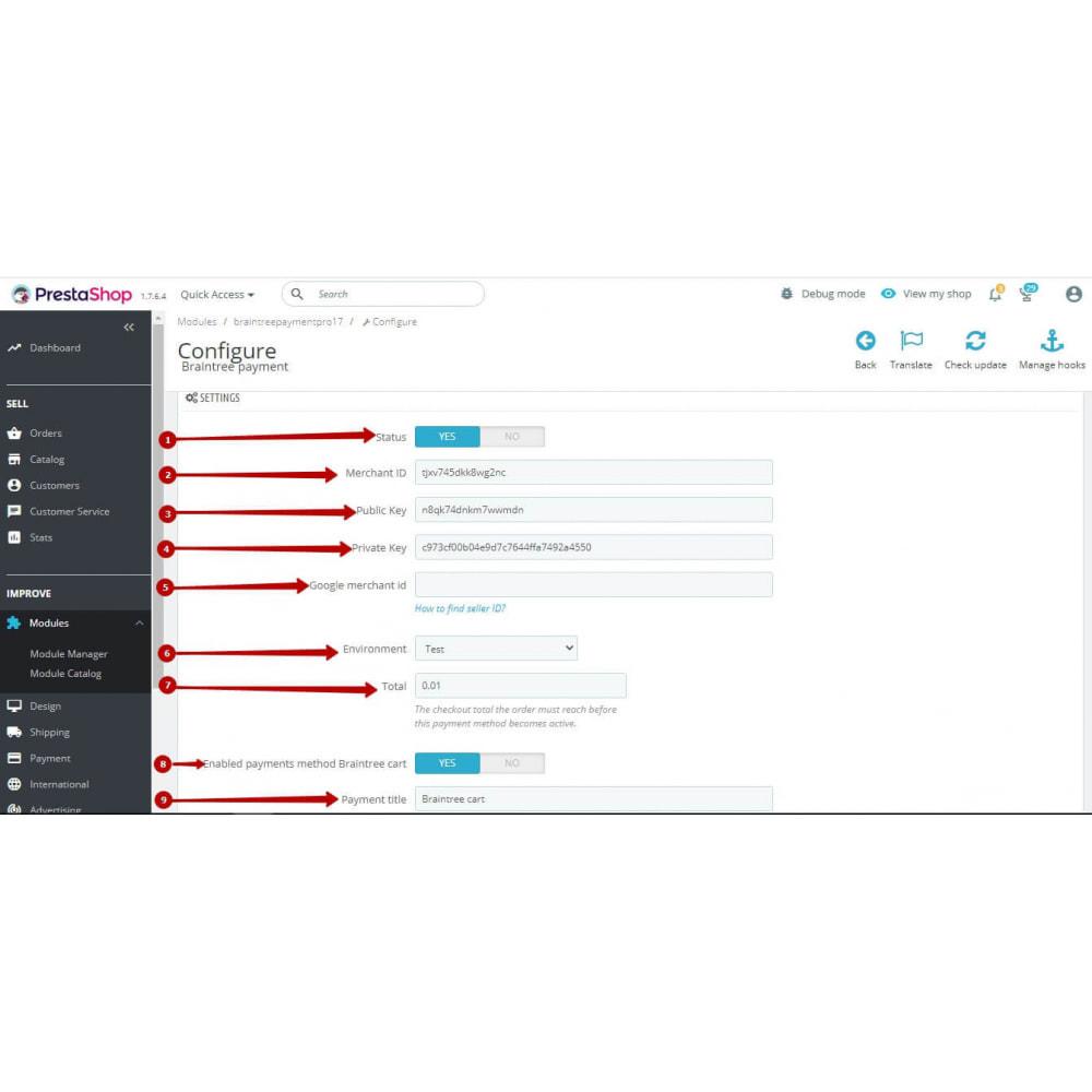 module - Pagamento por cartão ou por carteira - BrainTree Payment Gateway PRO (PayPal, Google Pay, etc) - 9