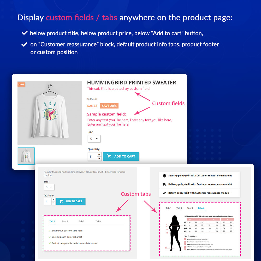 module - Bijkomende Informatie - Custom fields & tabs on product page - 2
