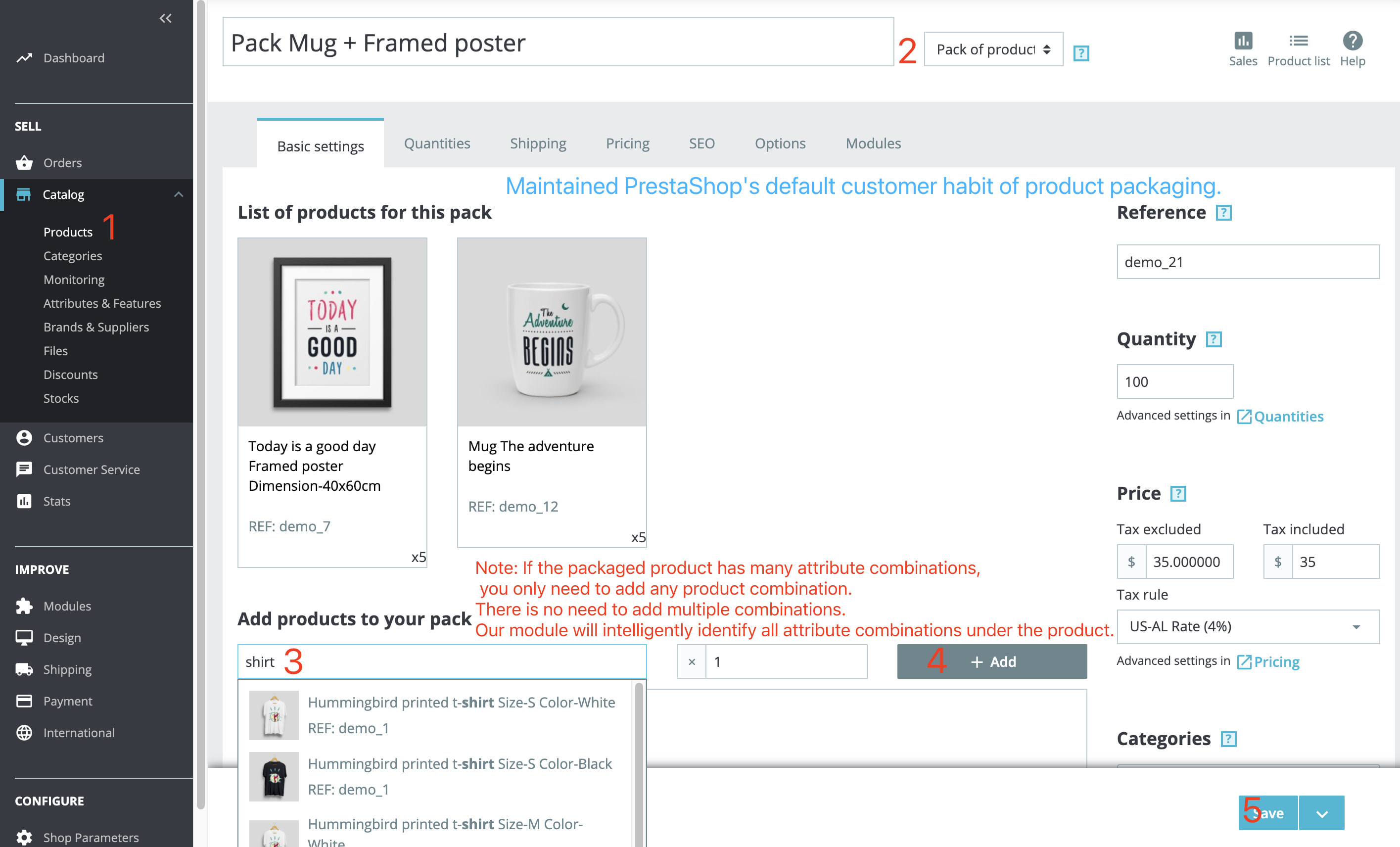 module - Combinations & Product Customization - Product Bundle Pack Add multiple products into the cart - 3