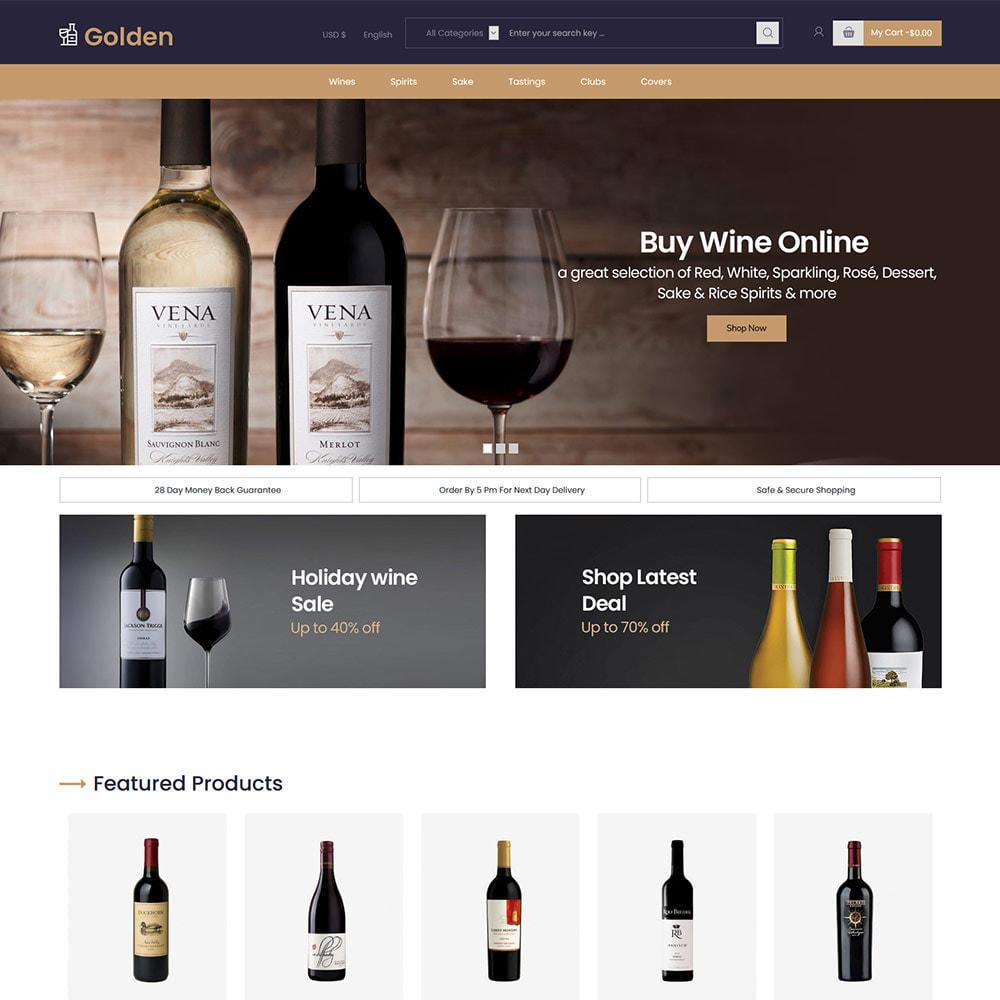 theme - PrestaShop Templates - Golden Wine - Alcohol Beer Store - 2