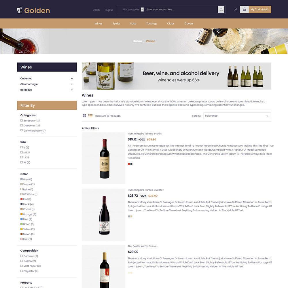 theme - PrestaShop Templates - Golden Wine - Alcohol Beer Store - 4