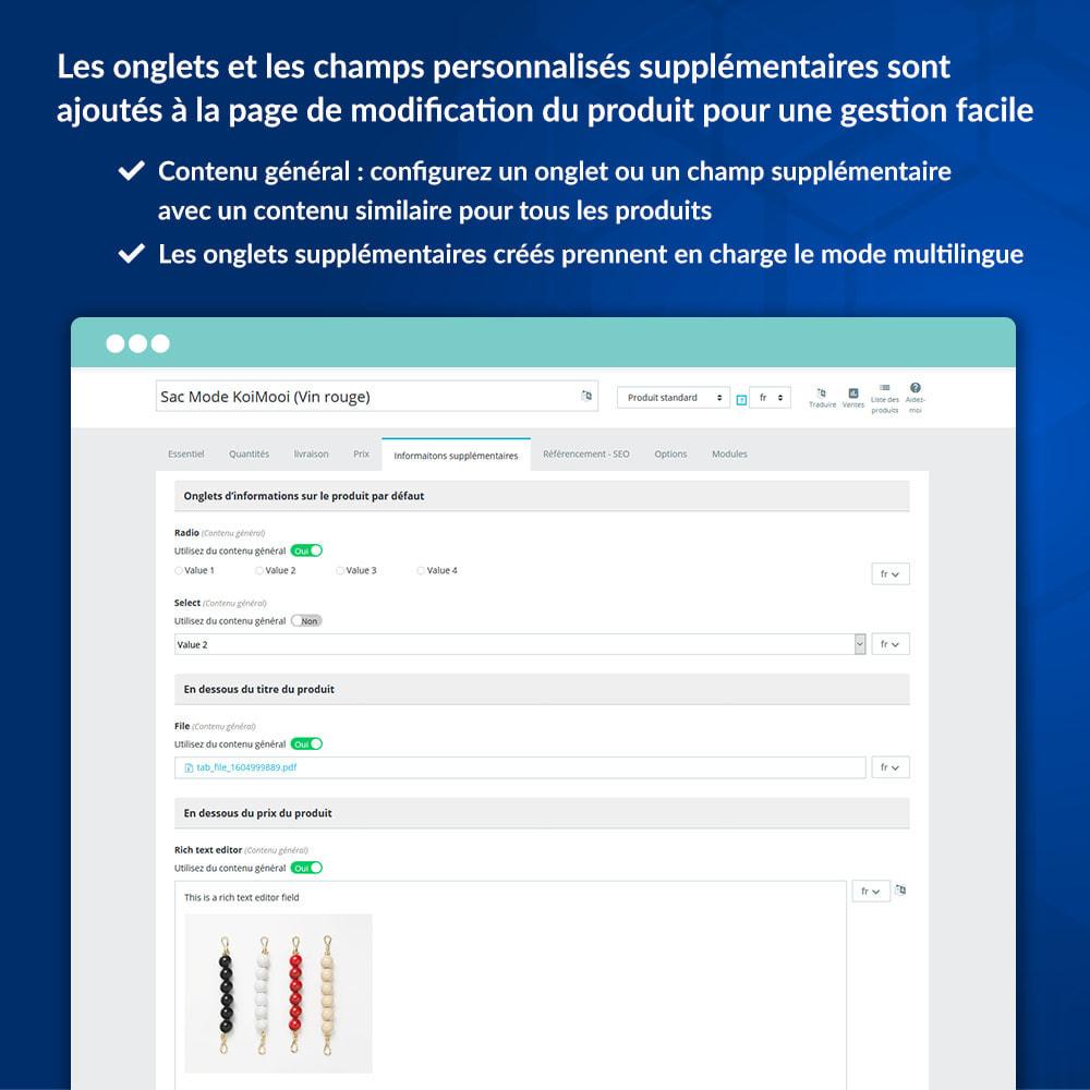 module - Information supplémentaire & Onglet produit - Onglets et champs personnalisés sur la page du produit - 5