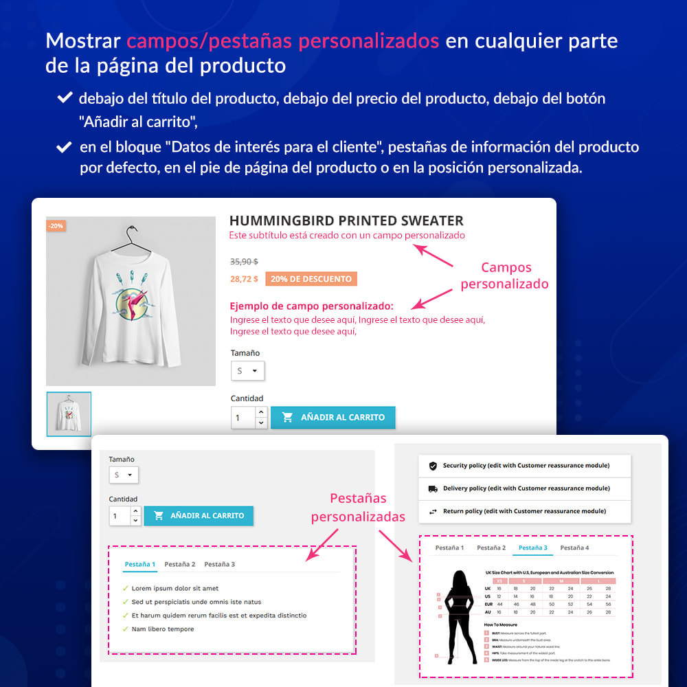 module - Informaciones adicionales y Pestañas - Campos/pestañas personalizados en la página de producto - 2