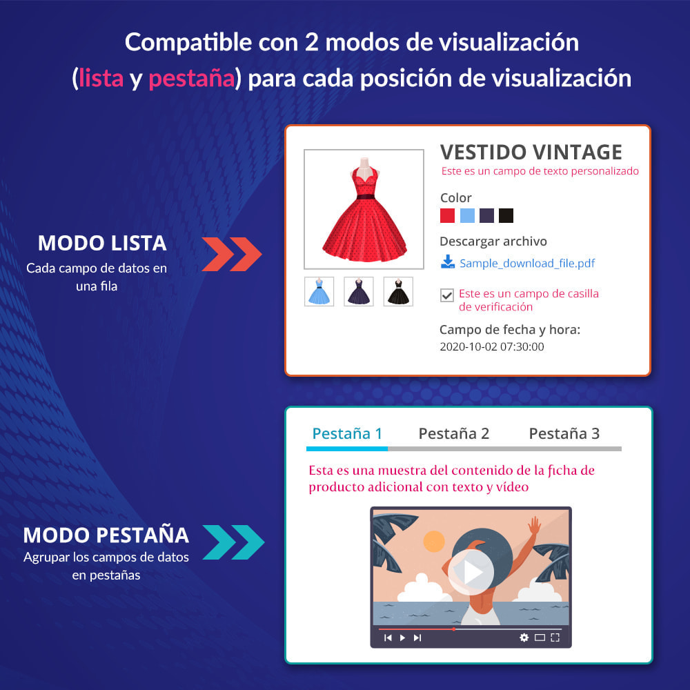 module - Informaciones adicionales y Pestañas - Campos/pestañas personalizados en la página de producto - 3
