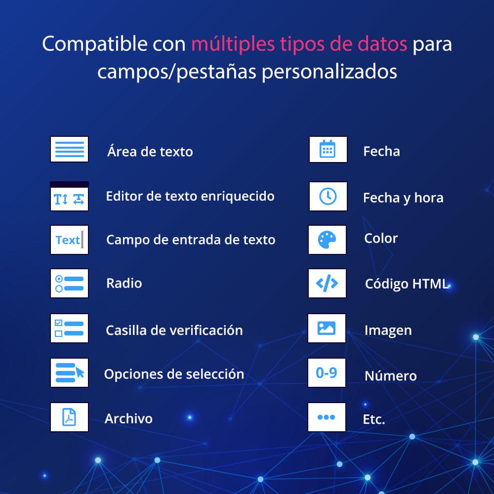 module - Informaciones adicionales y Pestañas - Campos/pestañas personalizados en la página de producto - 4