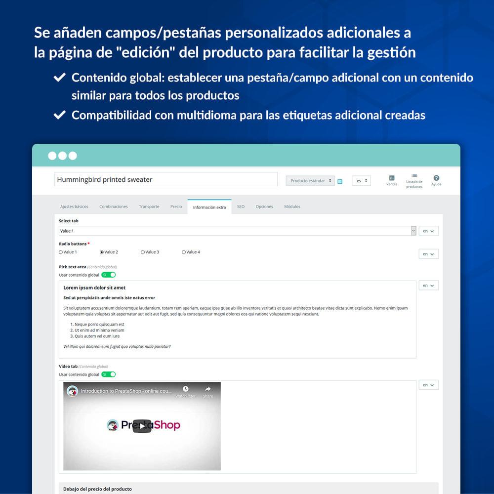 module - Informaciones adicionales y Pestañas - Campos/pestañas personalizados en la página de producto - 5
