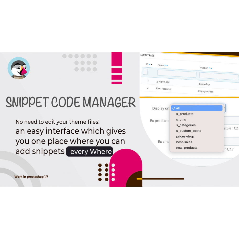 module - Outils d'administration - Snippet Code Manager - 2