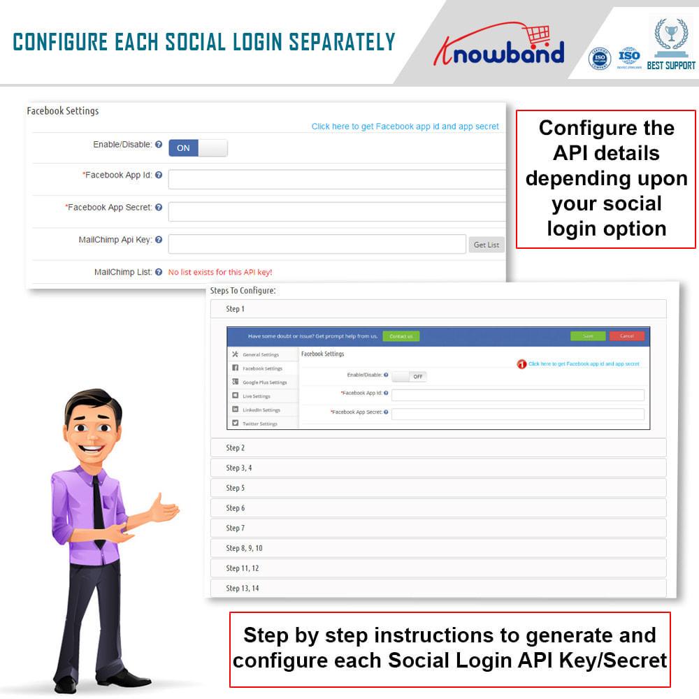 module - Módulos de Botões de Login & Connect - Knowband-Login Social 14 em 1, Estatísticas e MailChimp - 2