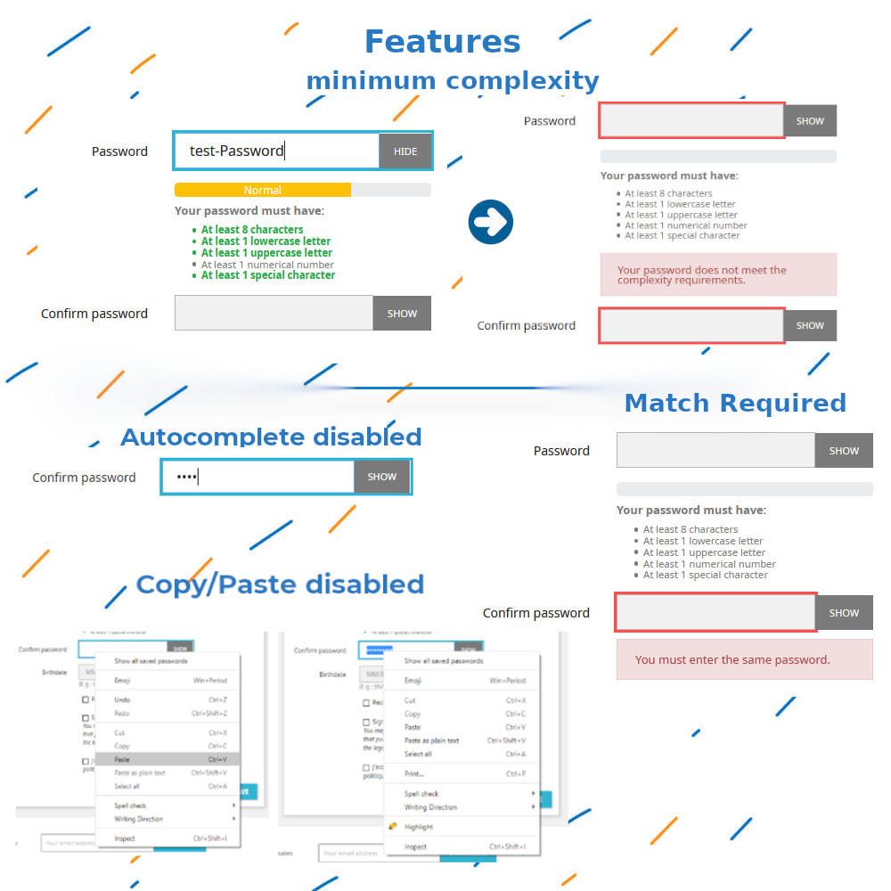 module - Anmeldung und Bestellvorgang - Bestätigung Passwort und Komplexität - 3