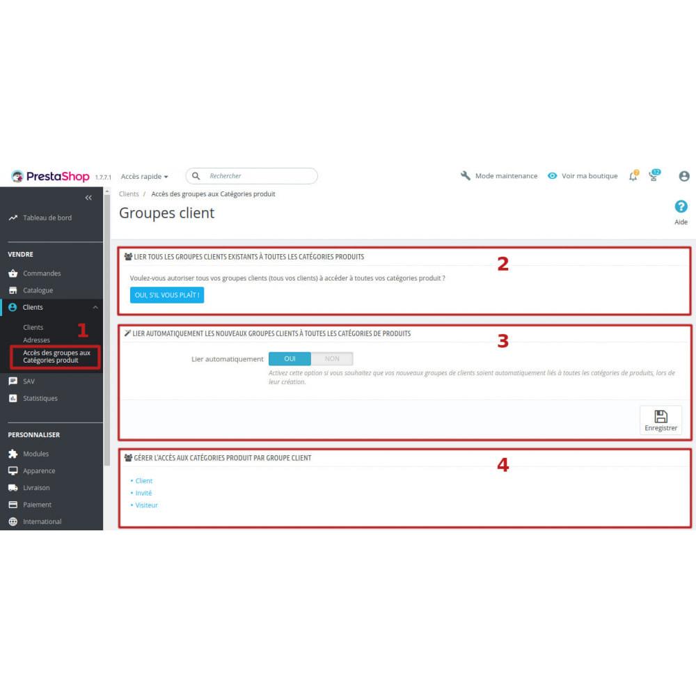 module - Gestion des clients - Gestion accès des groupes client aux catégories produit - 1