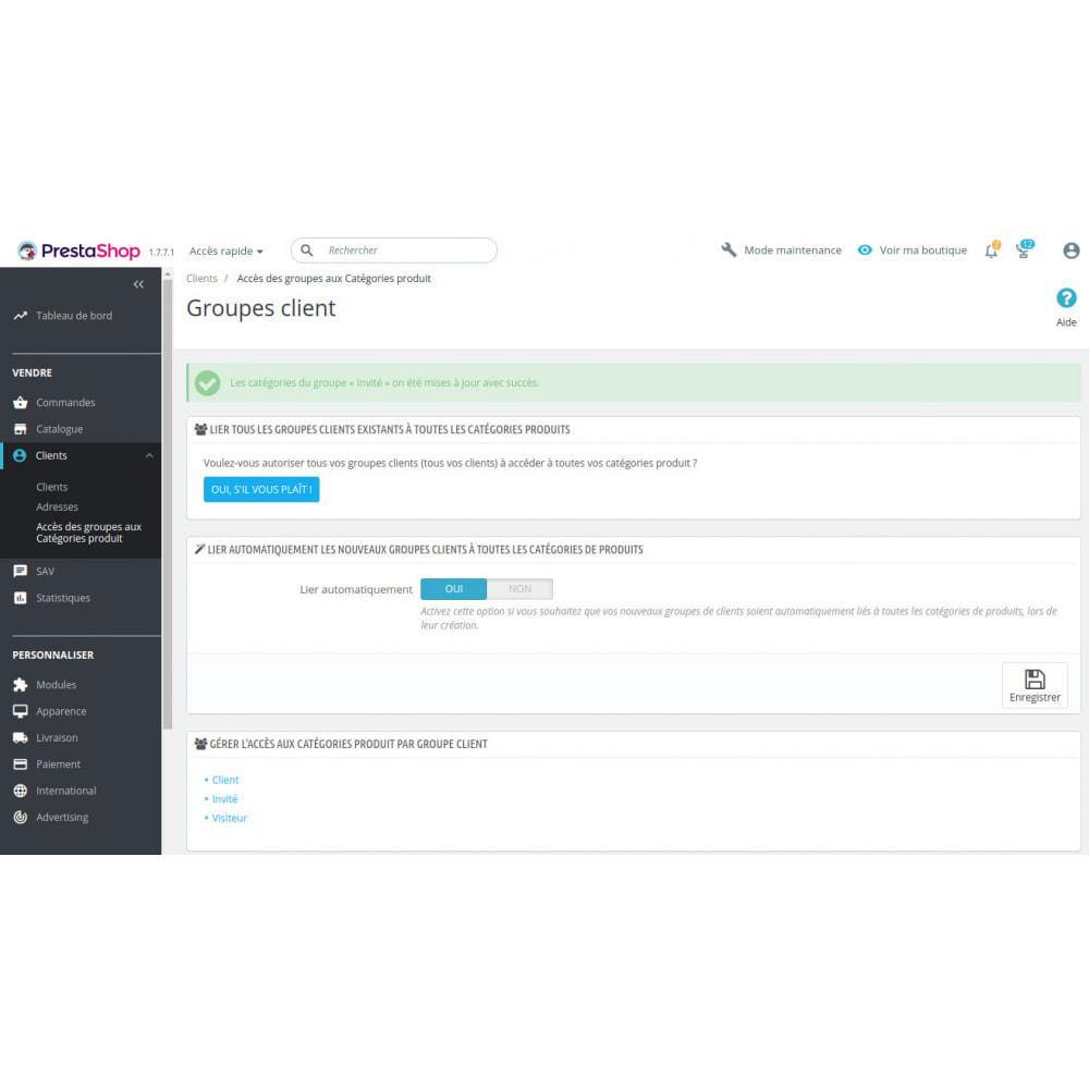 module - Gestion des clients - Gestion accès des groupes client aux catégories produit - 3