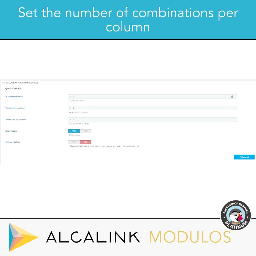 module - Diversificação & Personalização de Produtos - List of combinations in product sheet - 4