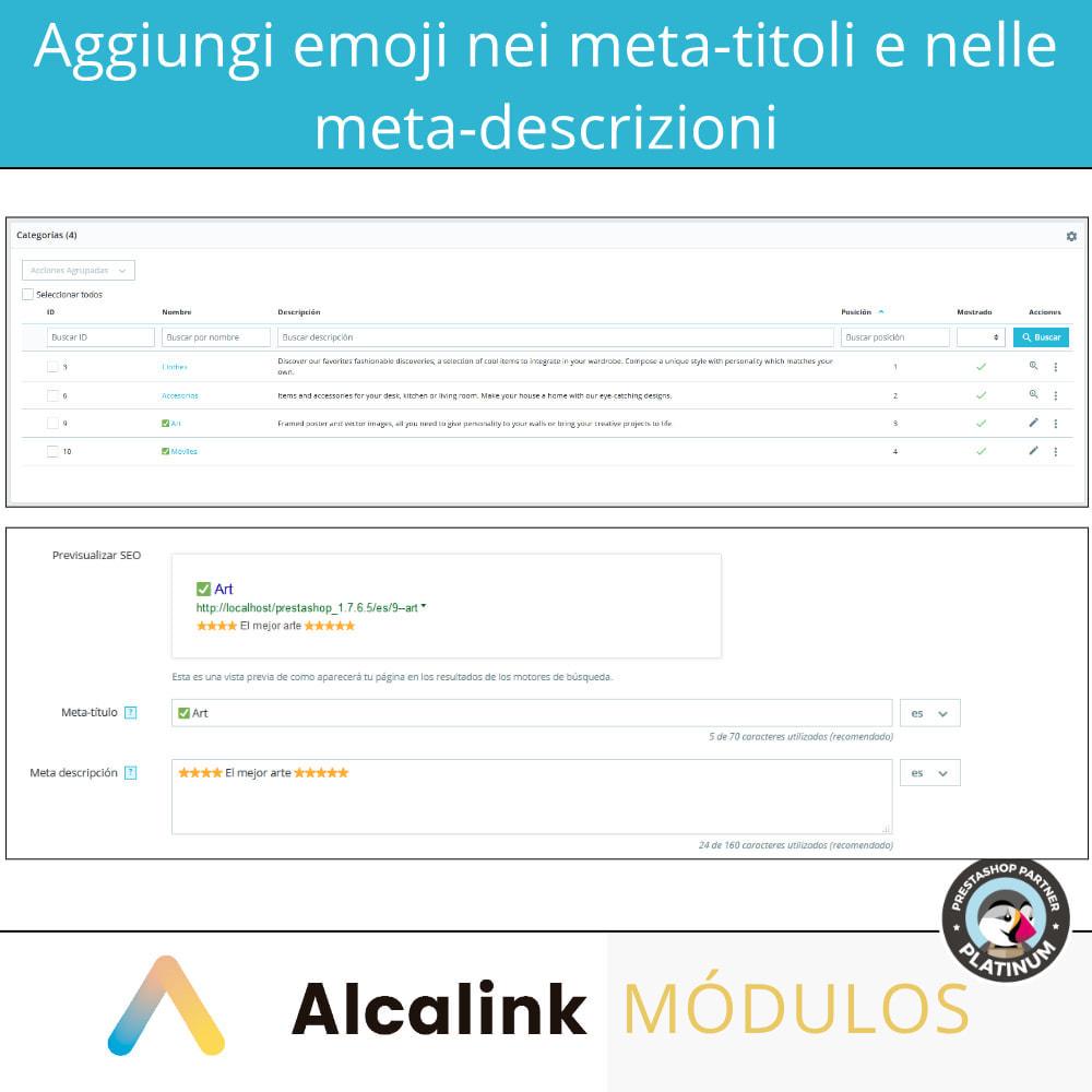 module - SEO (Indicizzazione naturale) - Emoji negli metas (prodotti, categorie, CMS ...) - SEO - 2