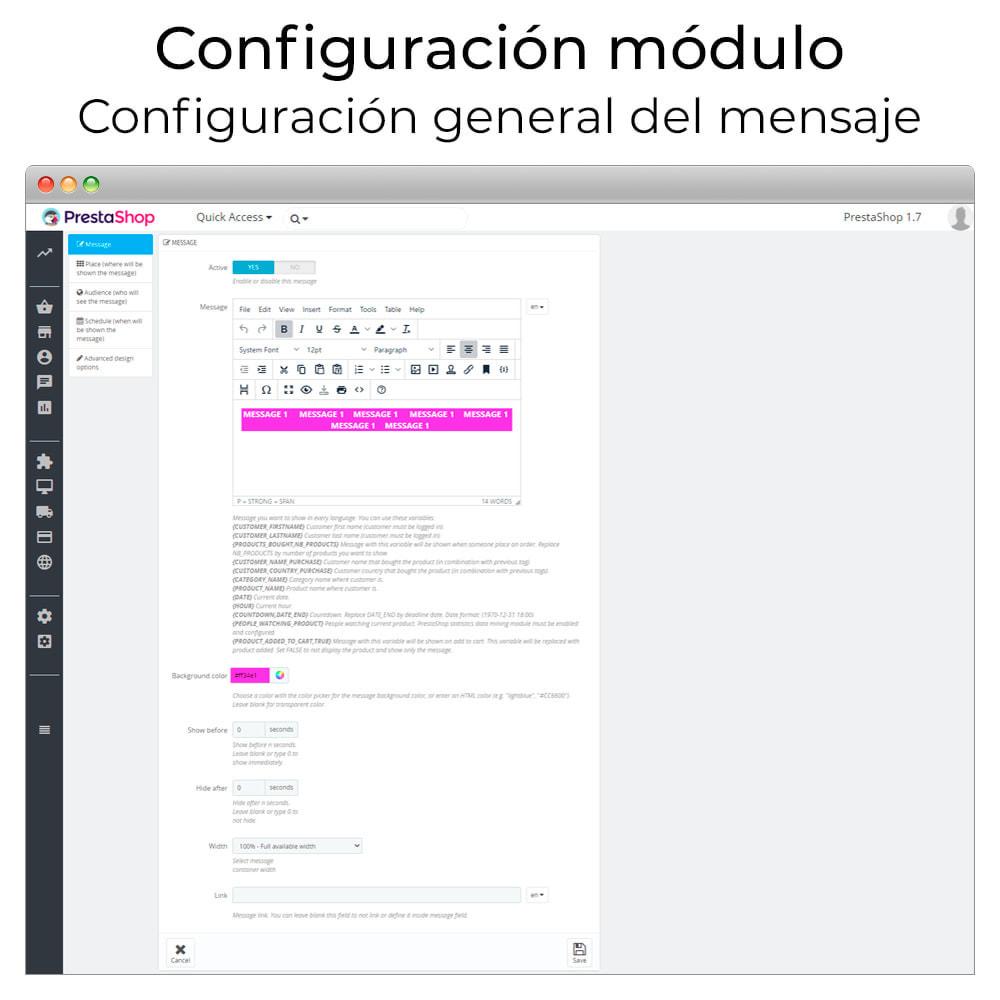 module - Personalización de la página - Mensajes en cualquier lugar - 3