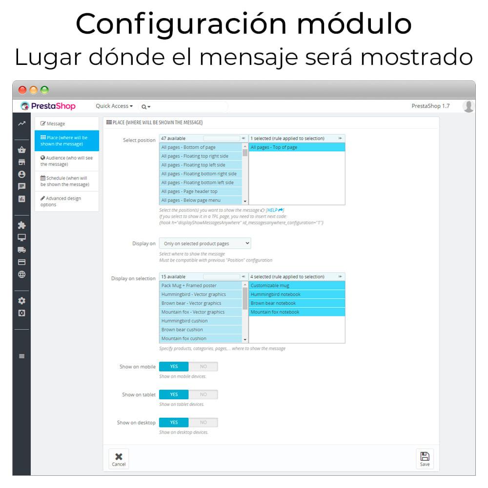 module - Personalización de la página - Mensajes en cualquier lugar - 4