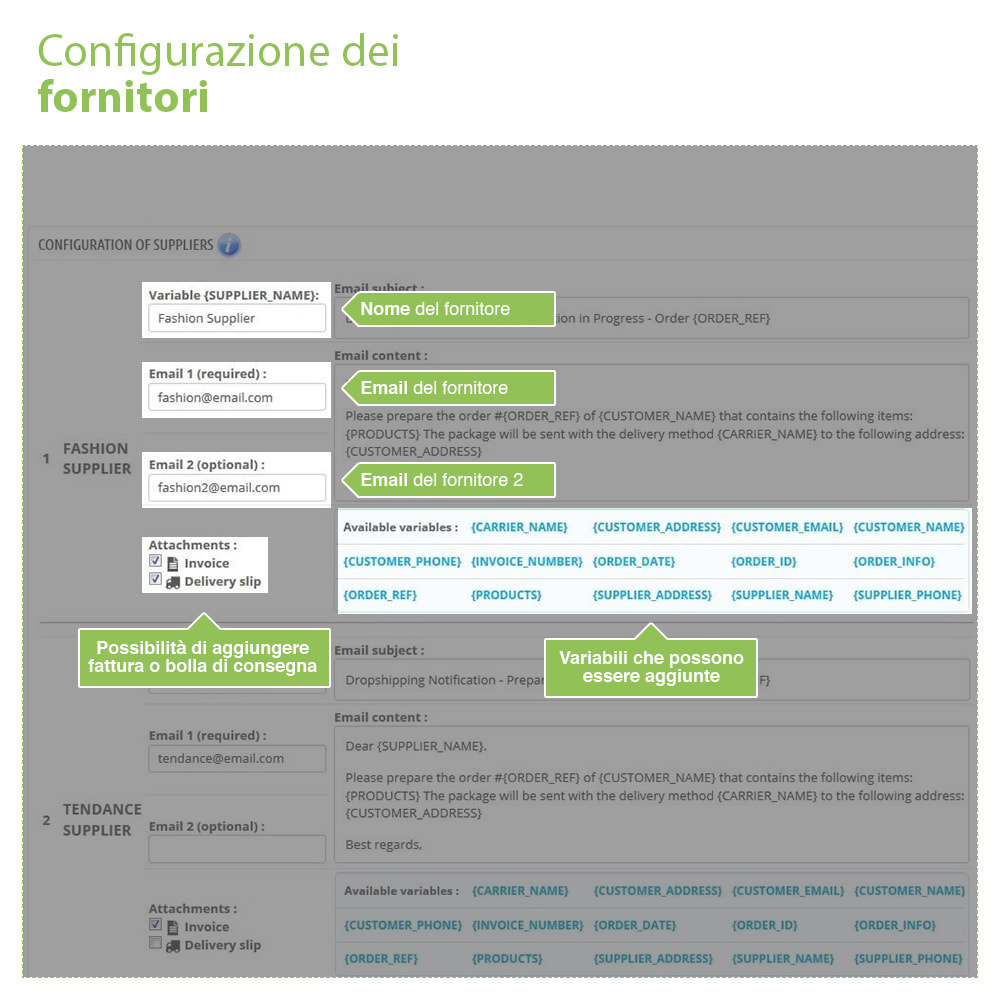 module - Dropshipping - Dropshipping - Email a Fornitori e Corrieri - 3