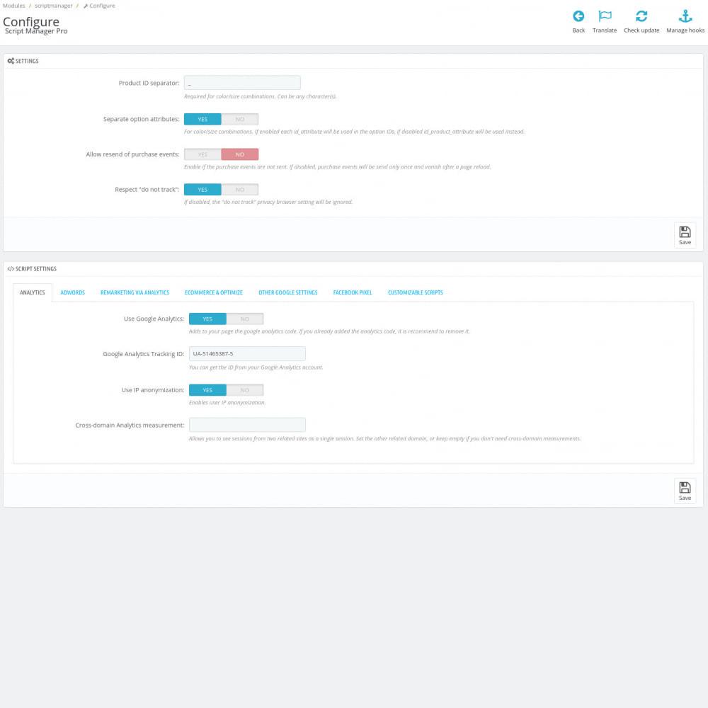 module - Analytics & Statistiche - Script Manager Pro (Customizable Scripts, APIs & GDPR) - 3