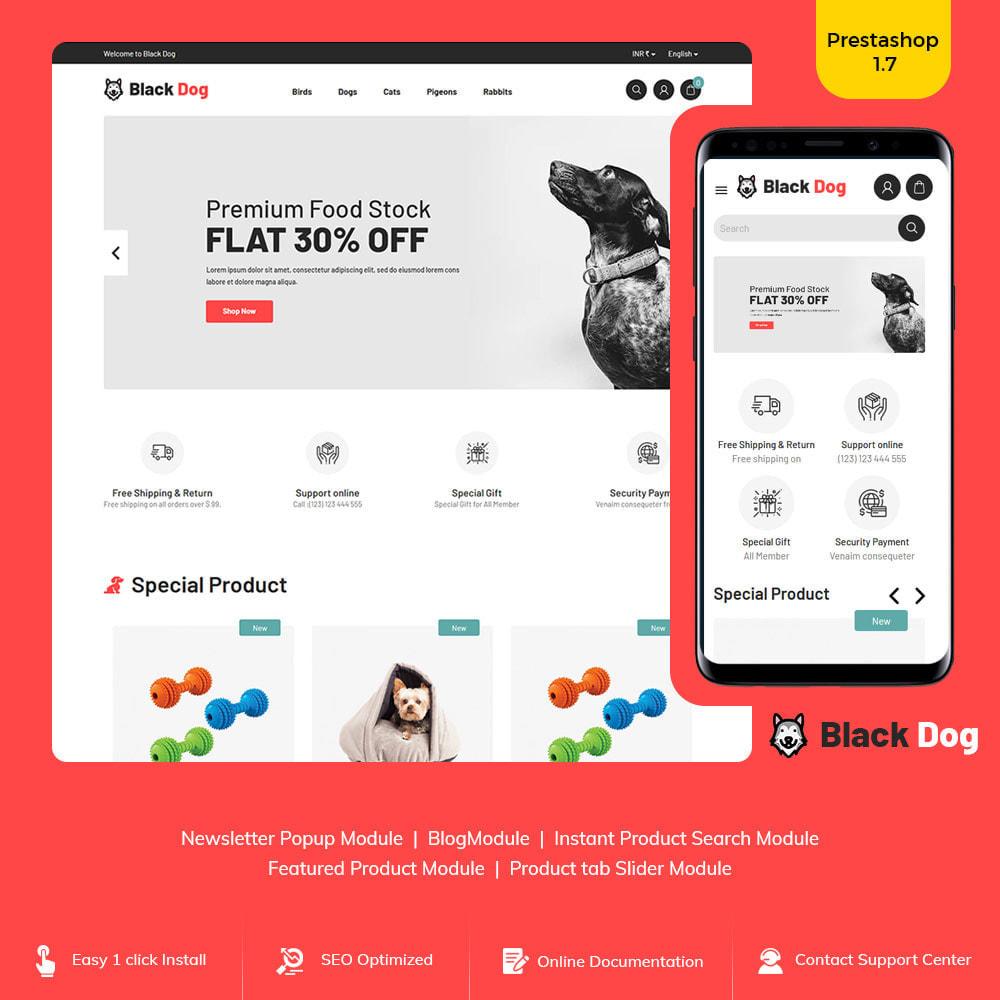 theme - Животные и домашние питомцы - Black Dog - Bird Pet Animal Food  Store - 1