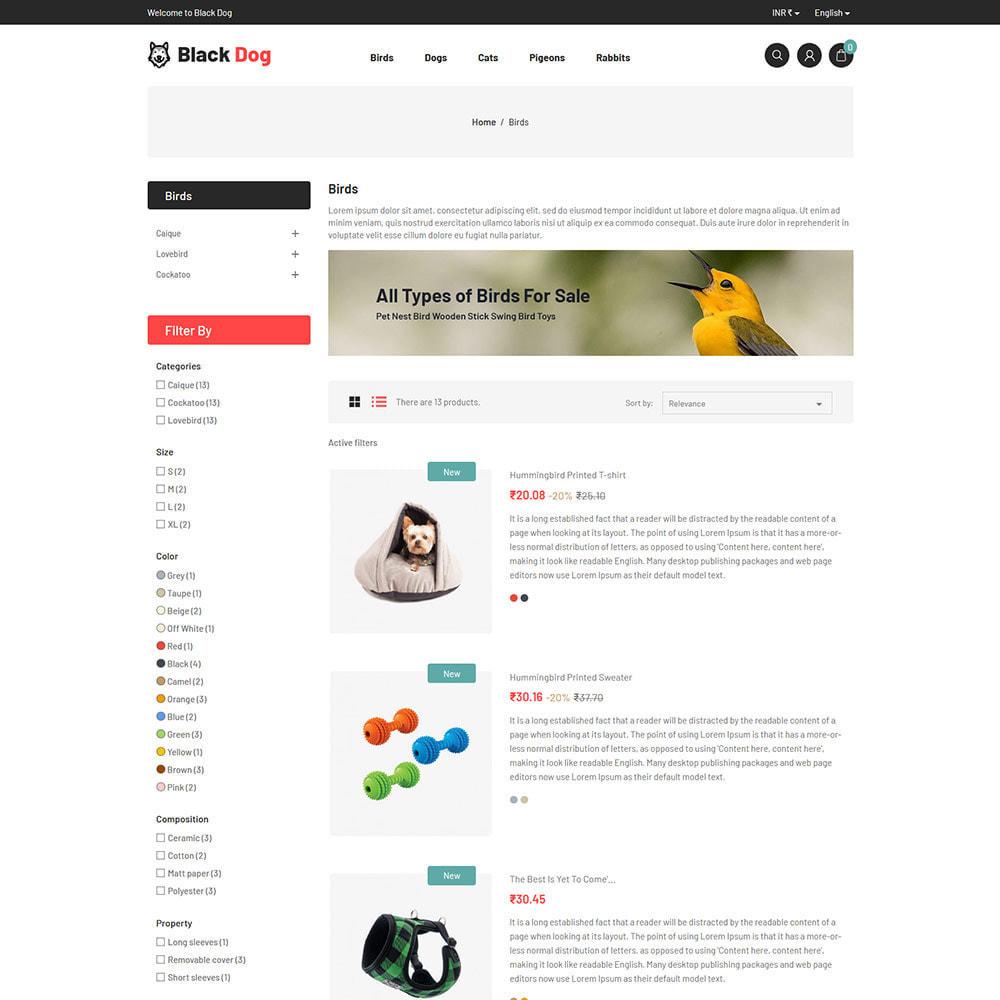 theme - Животные и домашние питомцы - Black Dog - Bird Pet Animal Food  Store - 4