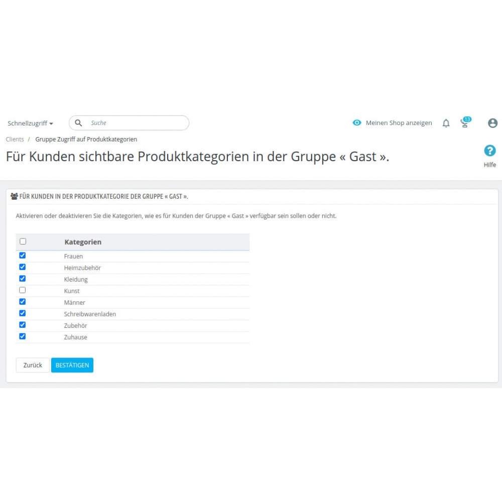 module - Kundenverwaltung - Toegang voor klantengroepen tot productcategorieën - 2
