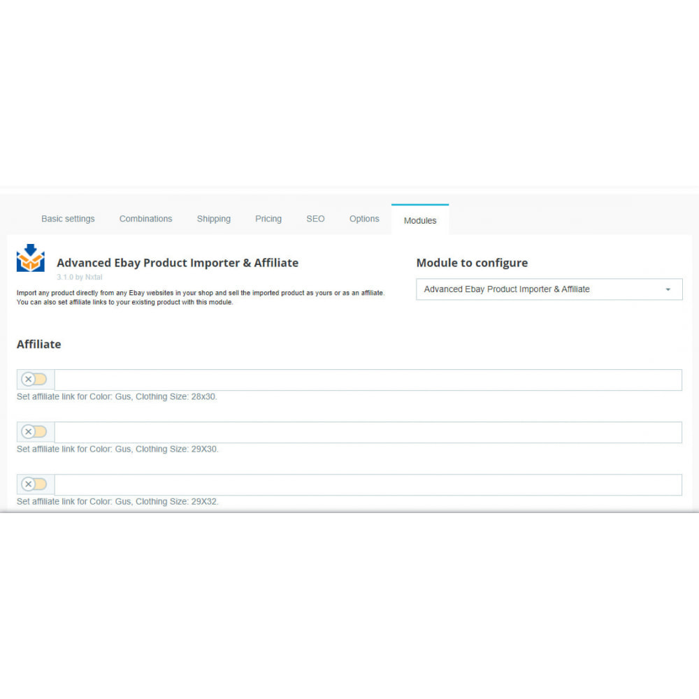 module - Importación y Exportación de datos - Advanced Ebay Product Importer & Affiliate - 7