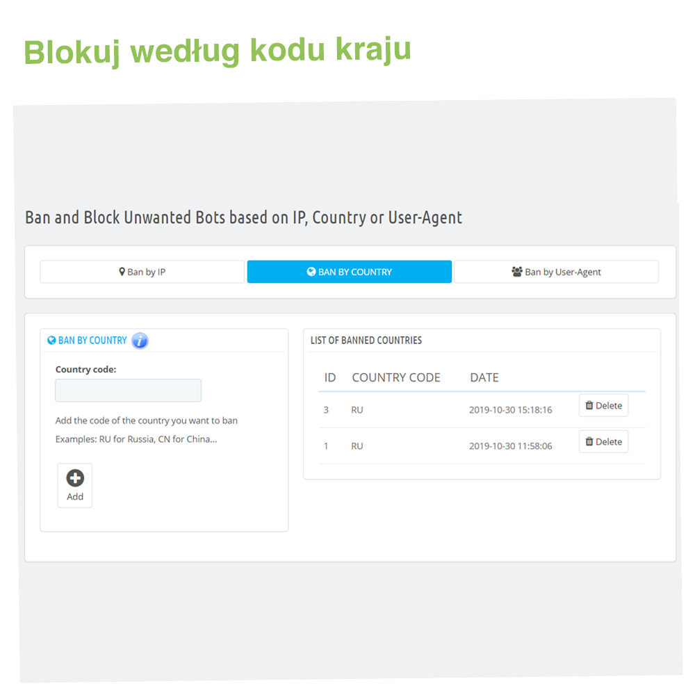module - Bezpieczeństwa & Dostępu - Block Bots: Blokuj Boty przez IP, Kraj i User-Agent - 3