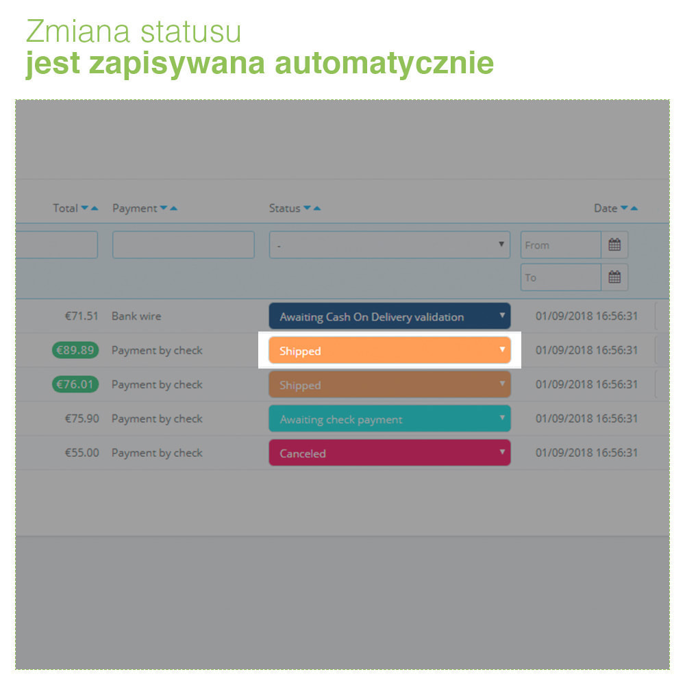 module - Zarządzanie zamówieniami - Change order status: szybka edycja stanu zamówień - 5