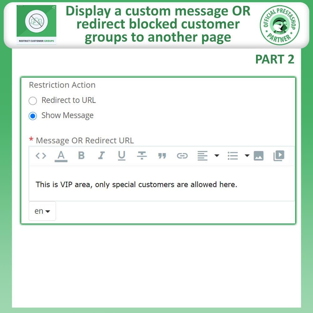 module - Informação Adicional & Aba de Produto - Restrict Products, Category & CMS By Customer Groups - 8