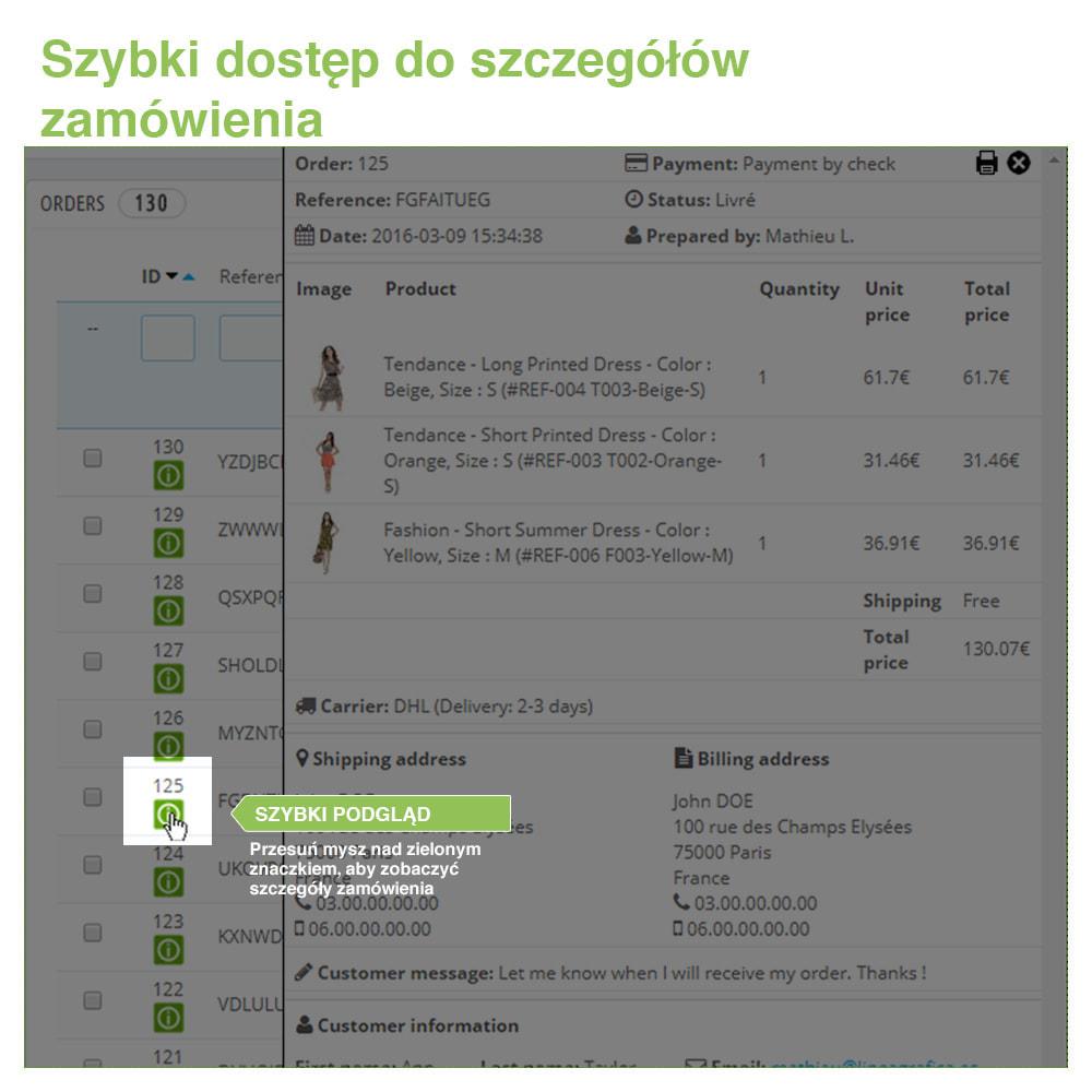 module - Zarządzanie zamówieniami - Fast Access to Order Details: podgląd danych zamówienia - 3