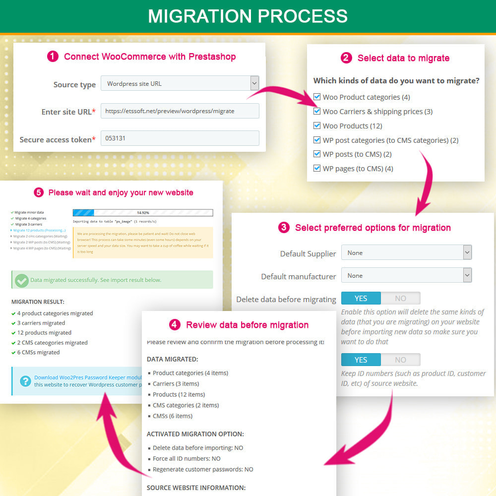 module - Newsletter & SMS - WooCommerce to Prestashop Migrator - 6