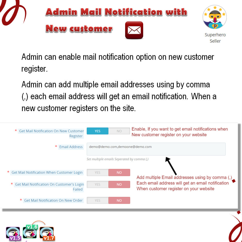 module - E-mails y Notificaciones - Admin Mail Notification With New Customer - 5