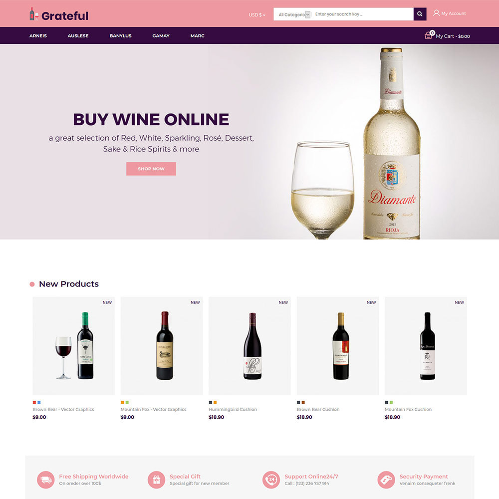 theme - Drink & Tobacco - Grateful Wine - Alcohol Beer Red Wine Store - 2
