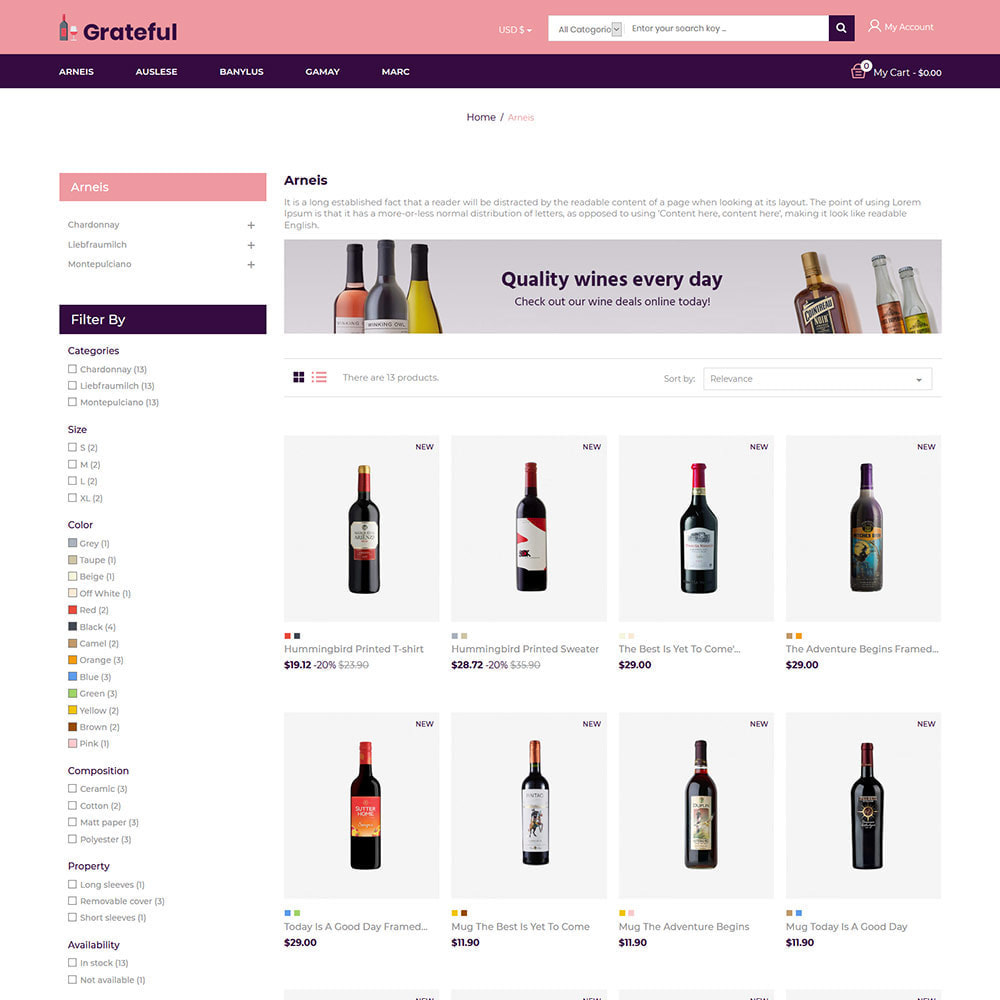 theme - Drink & Tobacco - Grateful Wine - Alcohol Beer Red Wine Store - 3