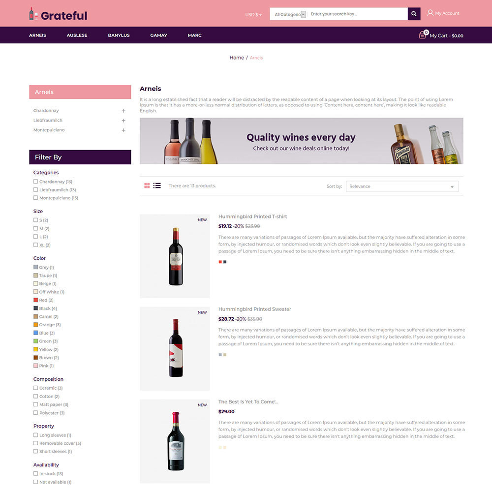 theme - Drink & Tobacco - Grateful Wine - Alcohol Beer Red Wine Store - 4