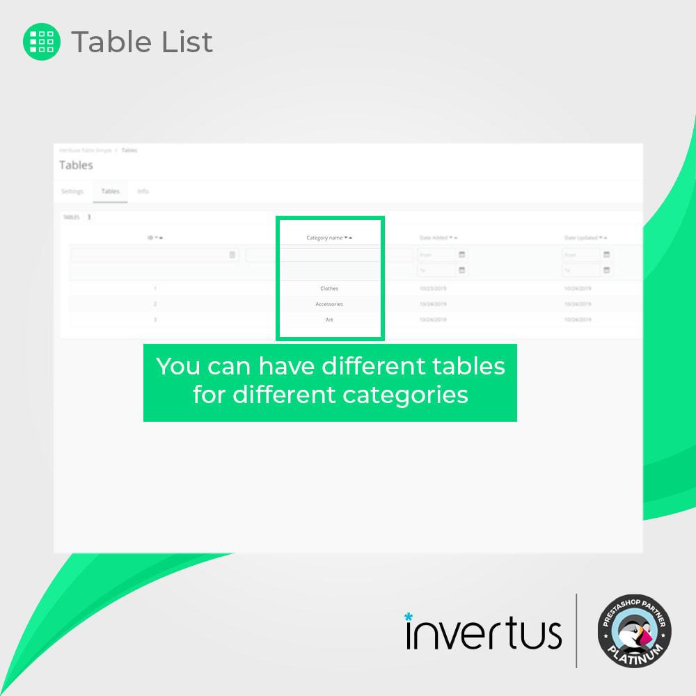 module - Combinaciones y Personalización de productos - Tabla de atributos simple: para producto - 7