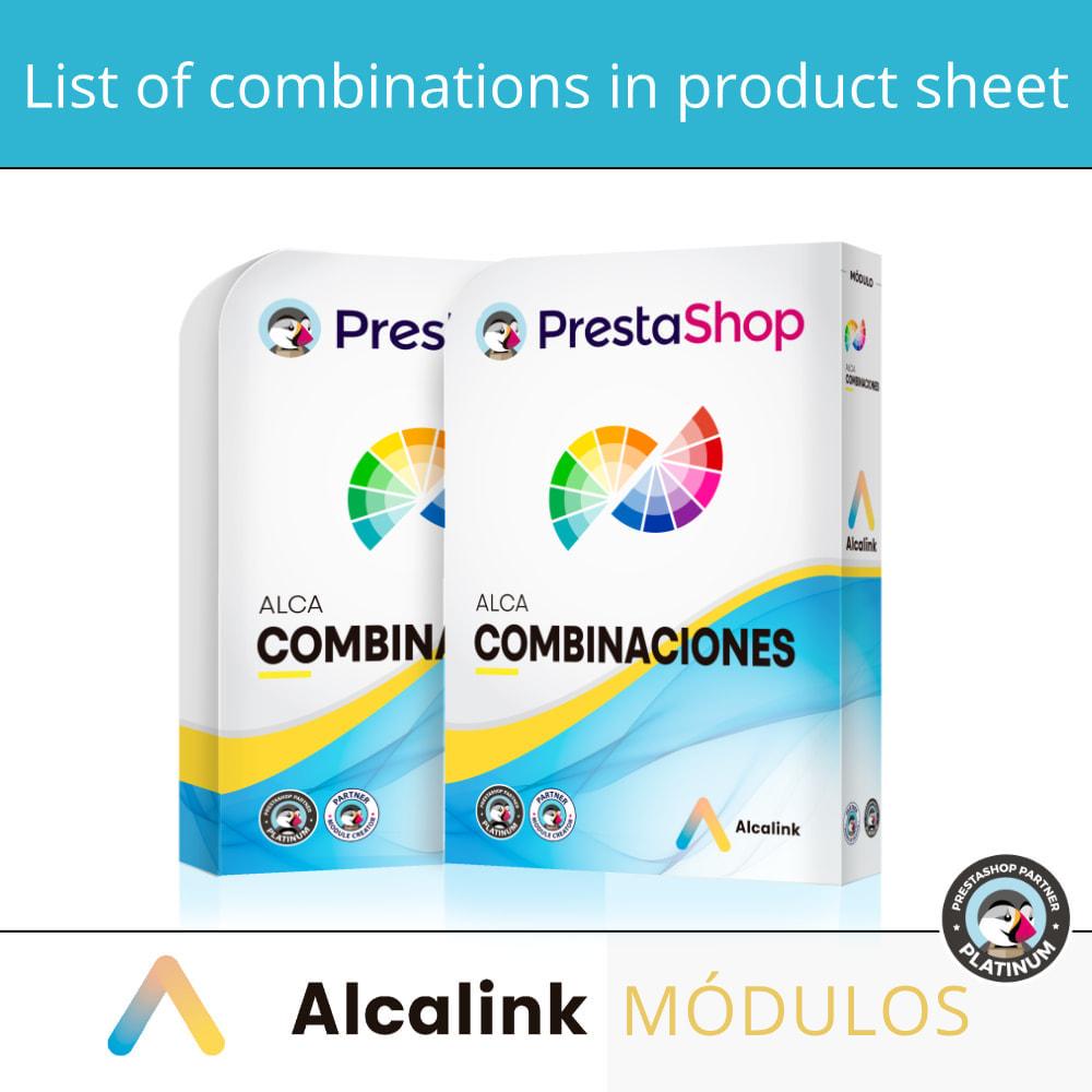 module - Diversificação & Personalização de Produtos - List of combinations in product sheet - 1