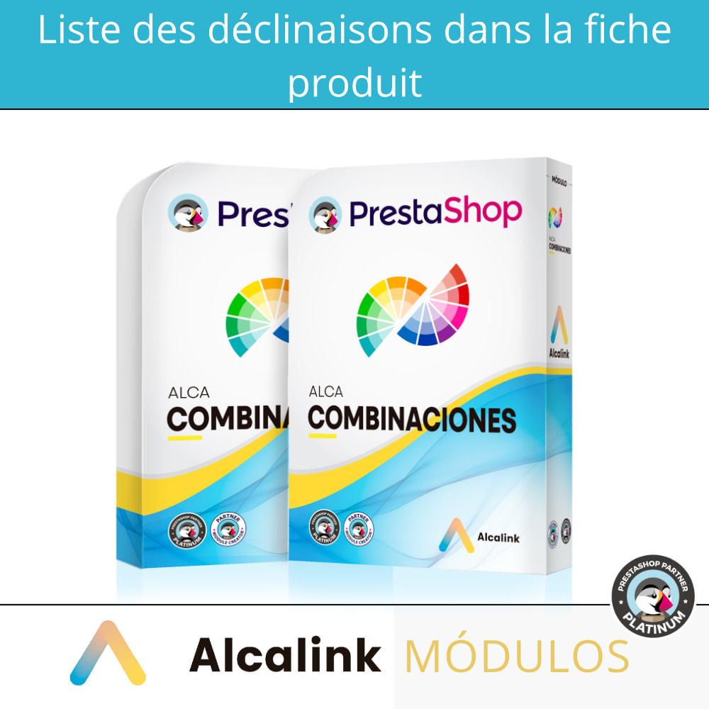 module - Déclinaisons & Personnalisation de produits - Liste des déclinaisons dans la fiche produit - 1