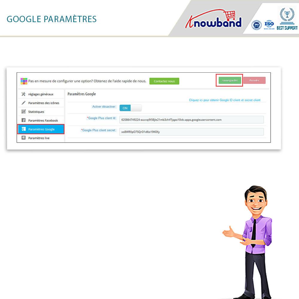 module - Boutons Login & Connect - Knowband- SocialLogin,14 en 1,Statistiques et MailChimp - 6