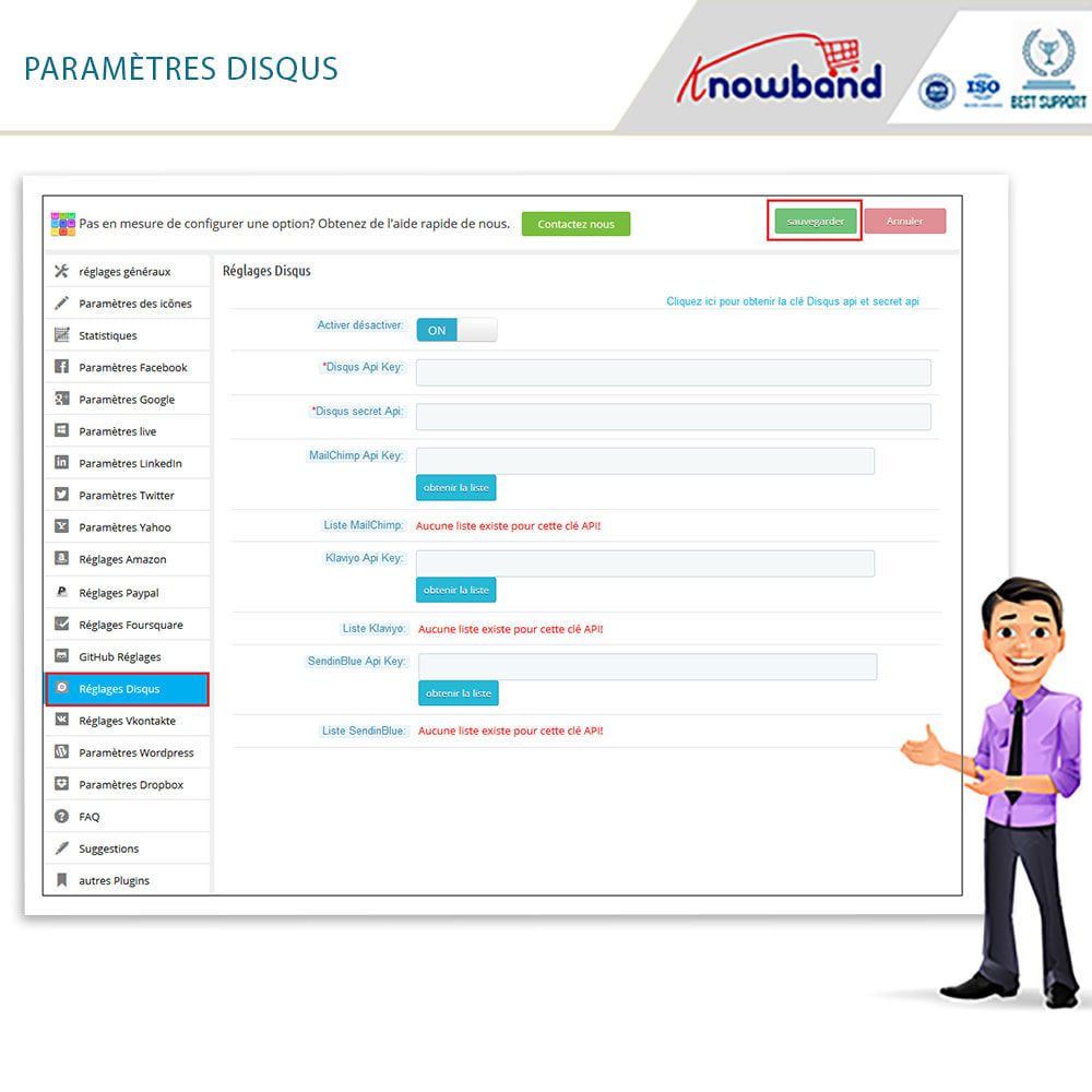 module - Boutons Login & Connect - Knowband- SocialLogin,14 en 1,Statistiques et MailChimp - 14