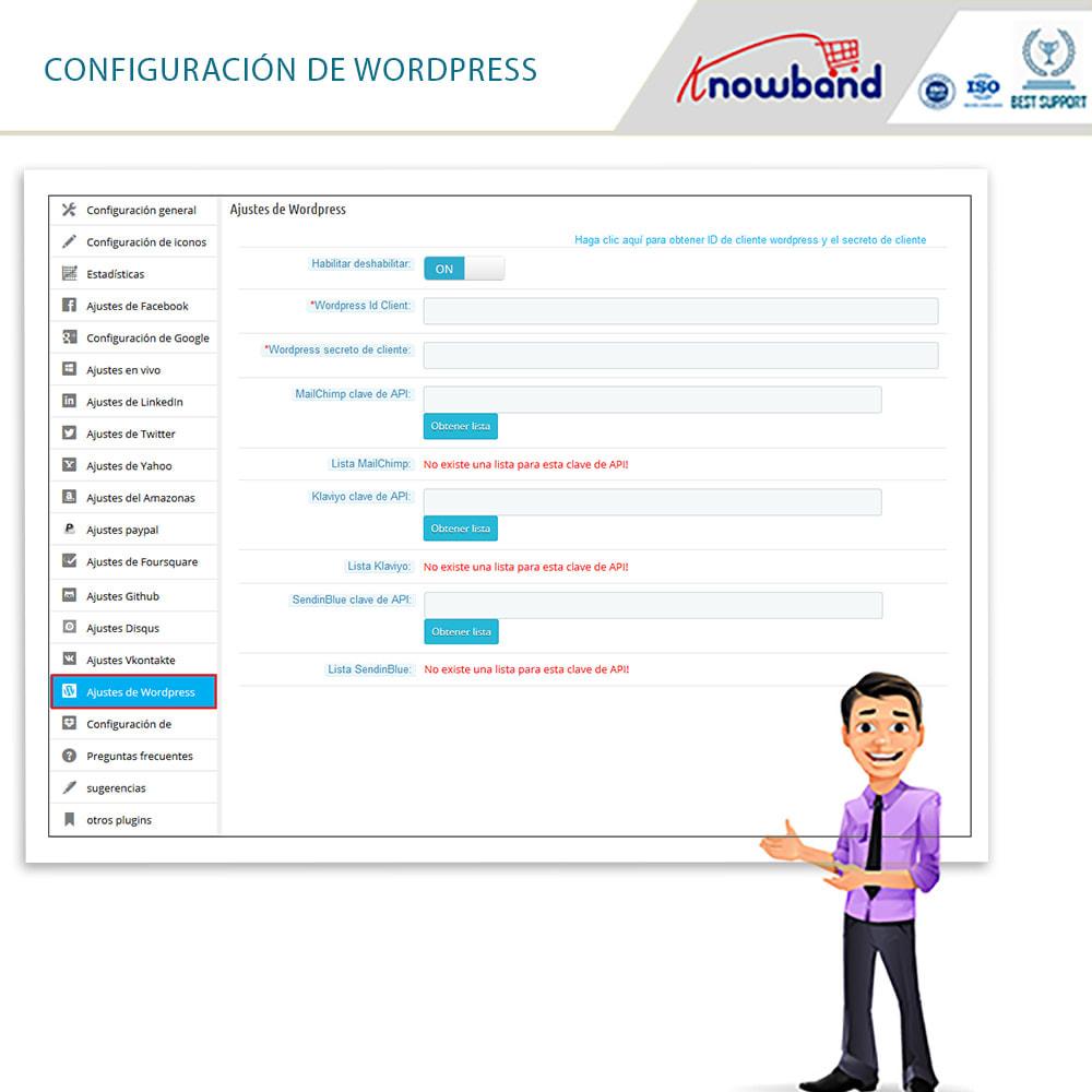 module - Botones de inicio de Sesión/Conexión - Knowband-Acceso Social 14 in 1,Estadísticas & MailChimp - 15