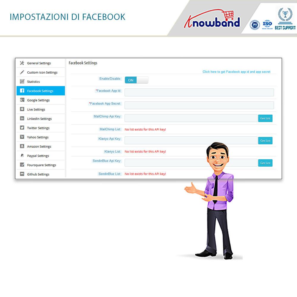 module - Login/Connessione - Knowband - Social Login 14 in 1,Statistiche & MailChimp - 7