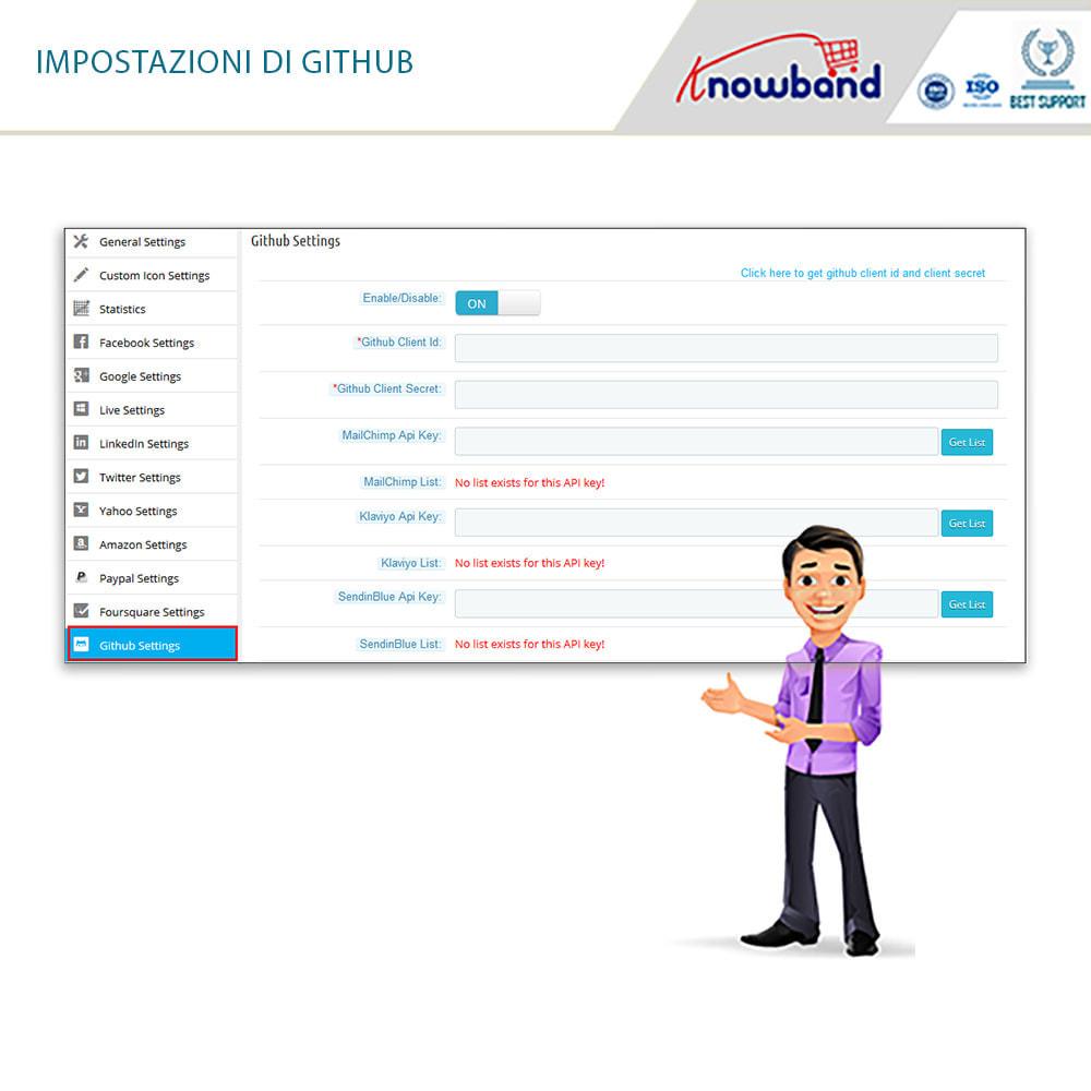 module - Login/Connessione - Knowband - Social Login 14 in 1,Statistiche & MailChimp - 10