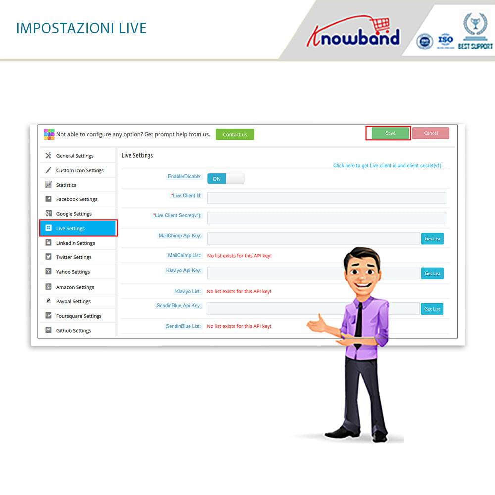 module - Login/Connessione - Knowband - Social Login 14 in 1,Statistiche & MailChimp - 12